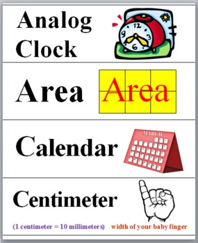 Measurement Word Wall Cards