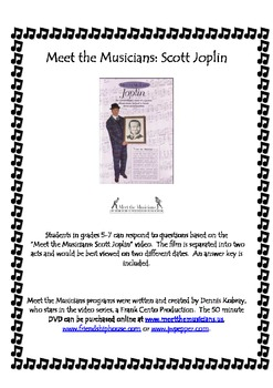 """Meet the Musicians: Scott Joplin"" video worksheet"