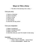 Memoir: Ways to Title a Story