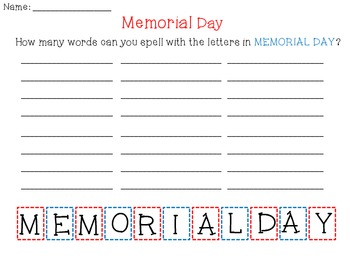 Memorial Day Word Work