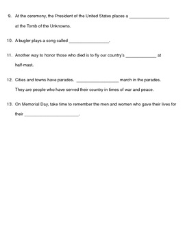 Memorial Day Worksheet for the Rookie Read About Holidays Book