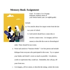 Memory Book - Creative Writing Assignment- Narrative Writing