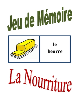 Memory Game with Food in French (Can be used for Flashcards)