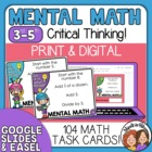 Mental Math - 104 Problem Cards, Great for Math Warm Up!