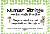 Mental Math Strings through 10 with shapes