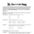 Menus Project on Linear Functions