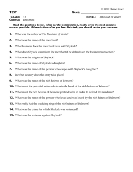 Merchant of Venice Test Questions