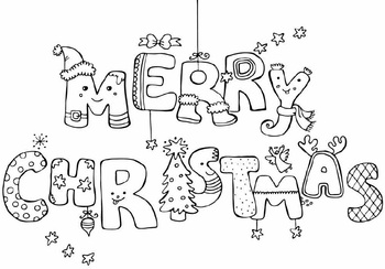 Merry Christmas HUGE poster that kiddos can color!