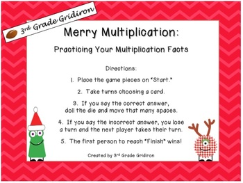 """Merry Multiplication"" Game Board-Math Center"