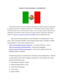 Mexican Bicentennial for Grades 2.6