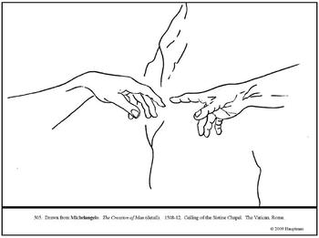 Michelangelo. The Creation of Man. Coloring page and lesso