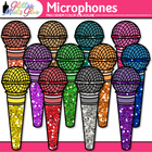 Microphones Dipped in Glitter Clipart - Music, Technology