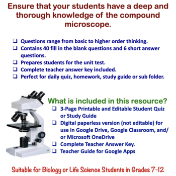 Microscope Quiz / Homework / Review Worksheet