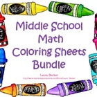 Middle School Math Coloring Sheets Bundle