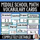 Middle School Math Common Core Vocabulary Cards