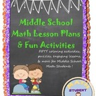 Middle School Math Lesson Plan, Fun Activities, Projects, Games