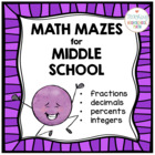 Middle School Math Mazes Bundle FRACTIONS!