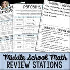 Middle School Math Review Stations