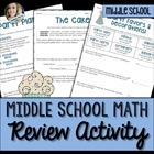 Middle School Math Skills Review Activity