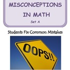 Middle School Math ~ Students Fix Math Mistakes/Errors Set A