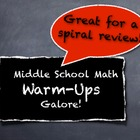 Middle School Math Warm-Ups Galore! Encourage Error Analys