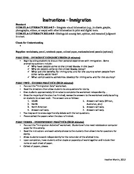 Middle School Substitute Teacher Lesson Plan - Immigration