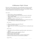Midsummer Night's Dream Questions