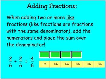Mimio Fractions: Add and Subtract