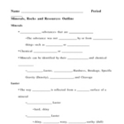 Minerals Rocks and Resources Notes Outline Lesson Plan