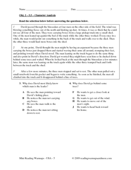 Mini Reading Warmups - USA - Grade 5