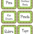 Mint Chocolate Brown & Green Scalloped Polka Dot Labels
