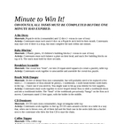 Minute to Win It Games & Materials