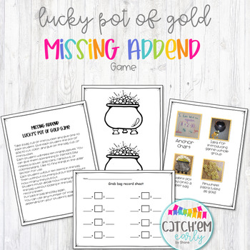 "Missing Addend Game ""Lucky's Pot of Gold"""