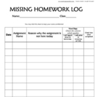 Missing Homework Log