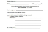Missing Homework Slip for students