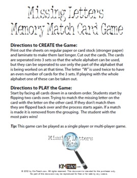 Missing Letters Memory Match Card Game