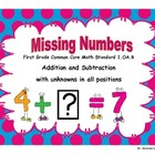 Missing Numbers:  First Grade Common Core 1.OA.8