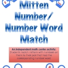 Mitten Math Match Number to Number Word Independent Math Center