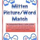 Mitten Word/Picture Match-Winter Independent Literacy Cent