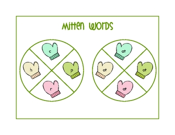 Mitten Words - A Word Family Spinner Activity
