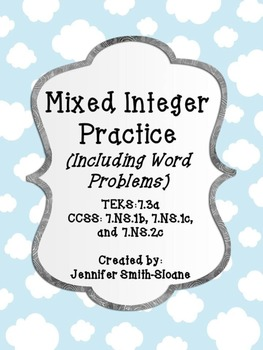 Mixed Integer Practice with Word Problems