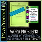 Mixed Operation Common Core Word Problem FREEBIE: Grade 4-5