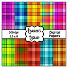 Mixed Plaid Digital Background Papers {8.5 x 11}  Commerci