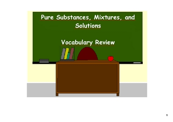 Mixtures and Solutions - Vocabulary Review on the SMARTboard