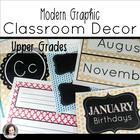Modern Graphic Classroom Theme Pack and Decor Bundle (edit