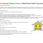 Modern Language Multiple Sentences  Board Game  Small Grou