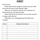 Monday Folder Log Sheet