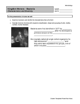 Moneran Characteristics and Diversity PPT - Student Worksheet
