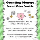 Money Center:  Equivalent Amounts-Fewest Coins Possible