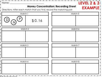Money Concentration w Recording Sheet